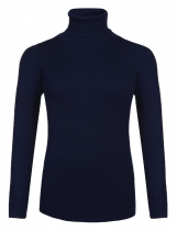 Navy blue Women Cable Knit Turtleneck Long Sleeve Solid Plus Size Sweater Pullover