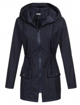 Navy blue Women Casual Waterproof Lightweight Hooded Raincoat Rain Jacket
