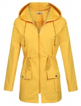 Yellow Women Casual Waterproof Lightweight Hooded Raincoat Rain Jacket