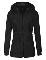 Black Women Casual Waterproof Lightweight Hooded Raincoat Rain Jacket