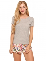 Grey Short Sleeve Tops with Floral Shorts Pajama Sets