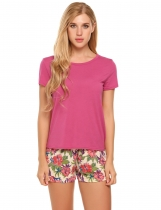 Rose red Short Sleeve Tops with Floral Shorts Pajama Sets