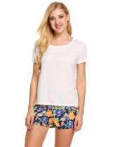 White Short Sleeve Tops with Floral Shorts Pajama Sets