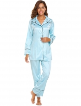 Light blue Women Casual Turn-down Collar Long Sleeve Elastic Waist Cat Shape Embroidery Pajama Sets