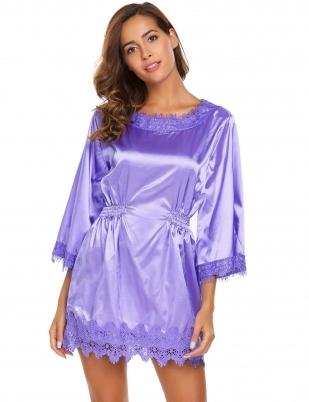 8de060ae82 Light purple O-Neck 3 4 Sleeve Lace Patchwork Elastic Waist A-Line Sleepwear  Dress