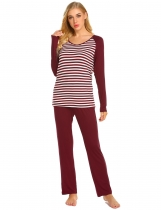 Wine red Women Casual O-Neck Striped Long Sleeve Elastic Waist Pants Pajama Set