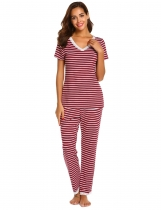 Wine red Women Casual Lace Trim Short Sleeve Striped Tops Full Length Pants Pajama Set
