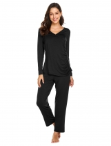 Black Women Casual Long Sleeve Loose Maternity Nursing Sleepwear Set