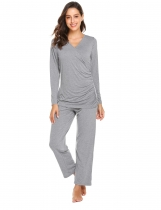 Grey Women Casual Long Sleeve Loose Maternity Nursing Sleepwear Set