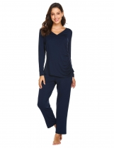 Navy blue Women Casual Long Sleeve Loose Maternity Nursing Sleepwear Set