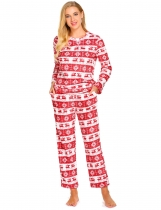 Pink white Women Casual Long Sleeve Loose Cartoon Homewear Pajamas Set