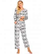 Gray white Women Casual Long Sleeve Loose Cartoon Homewear Pajamas Set