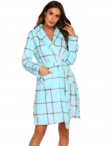Blue Women Casual Front Open Long Sleeve Bathrobe With Waistband
