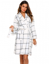 White Women Casual Front Open Long Sleeve Bathrobe With Waistband