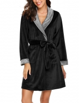 Black Women Casual Long Sleeve Shawl Collar Sleepwear Robe With Waistband