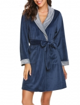 Navy blue Women Casual Long Sleeve Shawl Collar Sleepwear Robe With Waistband