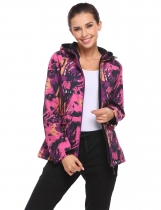 Rose red Women Long Sleeve Drawstring Hooded Camouflage Print Casual Fleece Jacket Coats