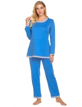 Black Women Casual O-Neck Long Sleeve Contrast Color Loose Pajama Set