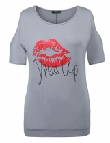 Grey Women Hot Cold Shoulder Letter Lip Print Casual T Shirt Blouse Tops Plus Size