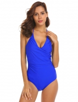 Royal Blue Women Sexy Halter Backless Sides Elastic Shirring Bikini Bodysuit