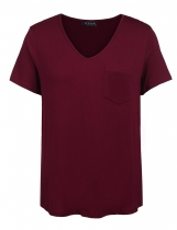 Wine red Women V Neck Short Sleeve Solid Loose Sleepwear Shirts Plus Size