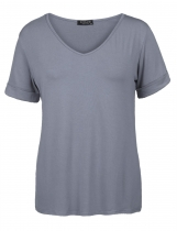Grey Women Casual Solid Short Sleeve V Neck Stretch Loose T-Shirt