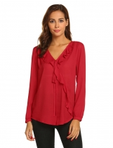 Wine red Women Casual O-Neck Long Sleeve Ruffles Trim Pullover Chiffon Blouse