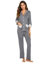 Gray Women Casual Three Quarter Sleeve Lace Patchwork Pajamas Set
