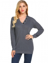 Black Women's Solid V-Neck Button Decorated Ribbed Knitwear Sweater Tops