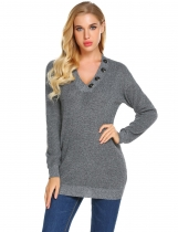 Dark gray Women's Solid V-Neck Button Decorated Ribbed Knitwear Sweater Tops