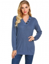 Navy blue Women's Solid V-Neck Button Decorated Ribbed Knitwear Sweater Tops