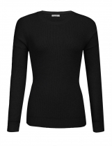 Black Women Casual Solid O Neck Chunky Knitted Sweater Warm Jumper Top
