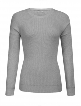 Grey Women Casual Solid O Neck Chunky Knitted Sweater Warm Jumper Top