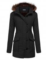 Black Women Hooded Long Sleeve Solid Zipper Button Closure Winter Warm Coat Outwear