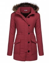 Wine red Women Hooded Long Sleeve Solid Zipper Button Closure Winter Warm Coat Outwear