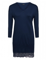 Navy blue Women V-Neck Long Sleeve Solid Lace Patchwork Loose Pullovers Sweater