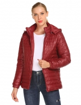 Wine red Women Casual Hooded Long Sleeve Solid Zipper Closure Detachable Hat Down Jacket