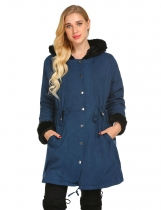 Navy blue Women Hooded Long Sleeve Solid Winter Warm Thick Faux Fur Lining Overcoat Jacket