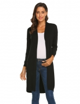 Black Women V-Neck Long Sleeve Solid Slim Open Front Cardigan Sweater