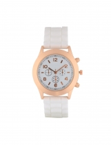 White Women Silicone Watches Analog Round Dial Casual Quartz Wrist Watch
