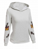 Gray Women Floral Long Sleeve Hooded Pullover Hoodie
