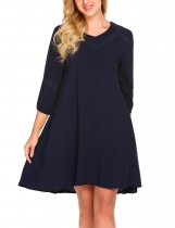 Navy blue Women V-Neck Three Quarter Solid Lace Patchwork Loose Knee Length Dress