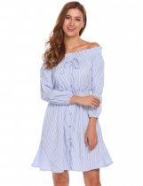 Blue Off Shoulder Long Sleeve Striped Button Front Shirt Dress