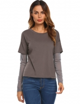 Gray Women O-Neck Mesh Patchwork Long Sleeve Casual Loose T-Shirt Tops