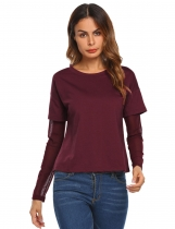 Wine red Women O-Neck Mesh Patchwork Long Sleeve Casual Loose T-Shirt Tops