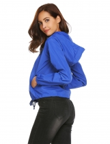 Royal Blue Women Outdoor Light Weight Long Sleeve Patchwork Hooded Windbreaker Jackets