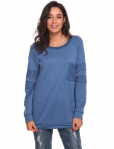 Blue O-Neck Long Sleeve Pullover Lace Patchwork Sweatshirt