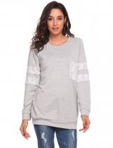 Light gray O-Neck Long Sleeve Pullover Lace Patchwork Sweatshirt