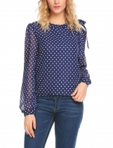 Dark blue Women Casual Round Neck Long Sleeve Dot Chiffon Top Blouse
