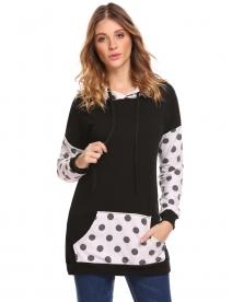 ae9d71400828b Black Women Hooded Sweatshirts Long Sleeve Dot Patchwork Casual Pullover  Hoodies. QUICK VIEW. ZEAGOO